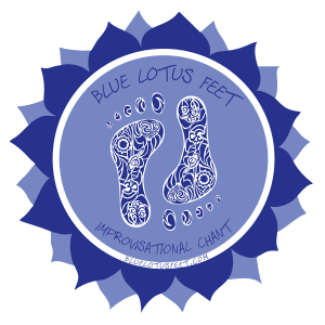 blue lotus feet logo sticker 4 by 4 clear bkgnd